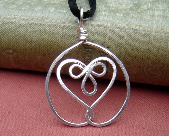 Celtic Embraced Heart Sterling Silver Pendant, Heart Necklace, Celtic Knot Jewelry, Celtic Necklace, Heart Pendant, Women, Gift for Wife