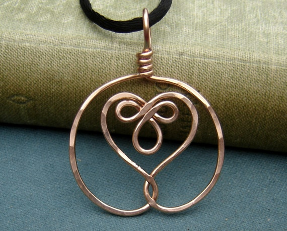 Celtic Embraced Heart Copper Pendant Necklace, Celtic Heart Necklace, Women, Handmade Gift, Heart Jewelry