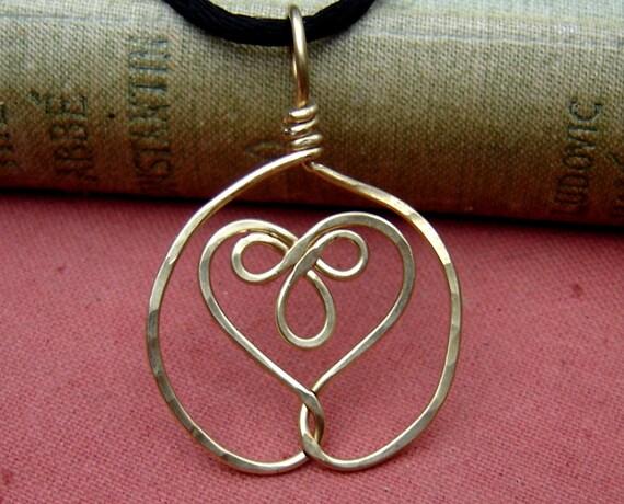 Celtic Embraced Heart Brass Pendant Necklace - Celtic Jewelry - Celtic Heart - Heart Necklace - Celtic Knot - Wire, Women, Handmade Gift