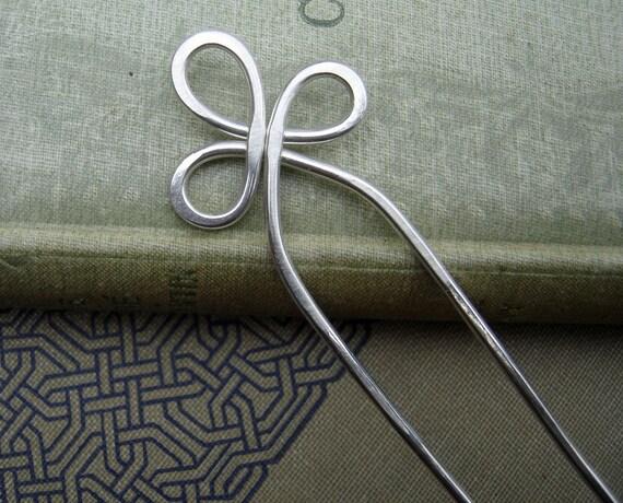 Trinity Loop Sterling Silver Hair Fork, Hair Sticks, Shawl Pin, Scarf Pin - Long Hair Accessory - Bun Holder, Hair Comb - Long Hair Toy