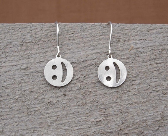 Sterling Silver Emoticon Smiley Earrings