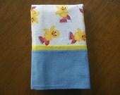 Flannel Pillowcase Skating Ducks Blues Yellow Handmade Finished Seams Bedding