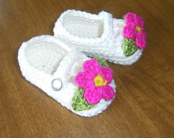 Baby Girl Mary Janes Booties Crochet Soft Cotton Shoes Handmade Infant Shoes Baby Crib Shoes Baby Booties