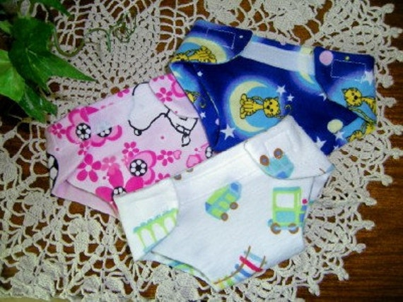 Doll Diapers Three Adjustable Flannel Velcro