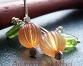 Pumpkin Earrings Halloween Vintage Beaded Sterling Silver Earrings - Fall Harvest