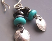 Turquoise Earrings Blue Black Sterling Silver -Crossing