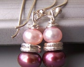 Pink Pearl Earrings Magenta Light Dark Small Beaded Sterling Silver - Rouge