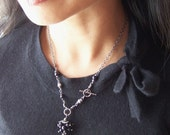 Black Genuine Freshwater Pearl Necklace Beaded Sterling Silver Matching Earrings