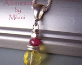 Sunshine Yellow Necklace and Pink Gemstones Ruby Fuchsia Small Petite Beaded - Burst of Sun