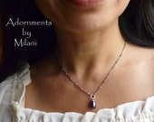 Purple Drop Pearl Necklace Eggplant Beaded Sterling Silver Bridesmaid Maid of Honor