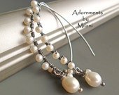 Pearl Earrings Vintage Patina White Sterling Silver Bridal Wedding -Queen of Gems