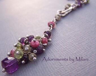 Purple Amethyst Necklace Fuchsia Ruby Green Peridot - Jardin de Monet
