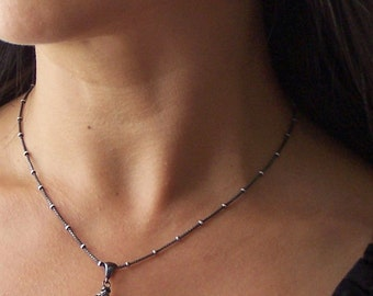 Pearl Necklace Vintage Style Sterling Silver Rustic Wedding Jewelry