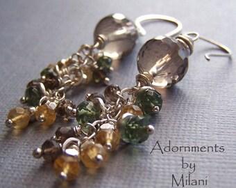 Brown Green Yellow Citrine Earrings Gemstones Beaded Multicolor Sterling Silver