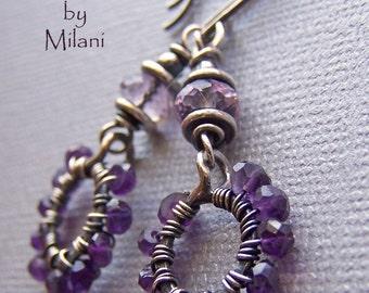 Purple Hoop Earrings Amethyst Gemstone Beaded February Birthstone -Thunderstorm II