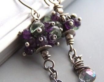 Purple Green Earrings Peacock Amethyst Gemstones Beaded -Illumina