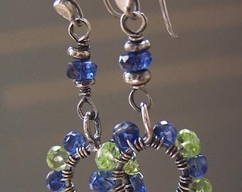 Green Blue Earrings Gemstones Hoops Beaded Sterling Silver Artisan Handcrafted