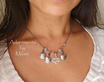 A Grandma's Heart Necklace - Three Children Names Grammy Nana Grandmother Jewelry