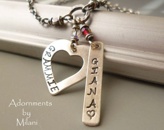 Grammie & Grandchild Necklace Granddaughter Grandson Child Name Personalized Jewelry