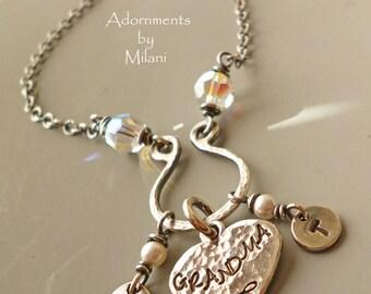 Grandma Necklace 2 Two Grandchildren Personalized Jewelry Initials