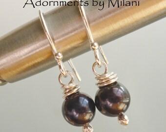 Black Pearl Earrings Small Simple Sterling Silver -Noir
