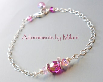 Fuchsia Pink Bracelet Beaded Bridesmaid Bridal Wedding Matching Earrings Jewelry Sparkly Shiny