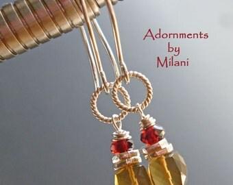 Topaz Brown Red Earrings Beaded Small Gemstones Sterling Silver