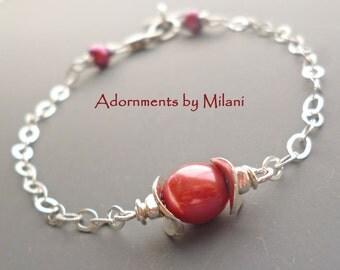 Cranberry Red Bracelet Monogram Pearls Initial Bridesmaids Wedding Jewelry