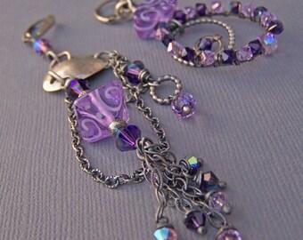 Purple Lavender Earrings Long Large Hoops Artisan Chandelier Asymmetrical Glass Sterling Silver Unique Sparkly