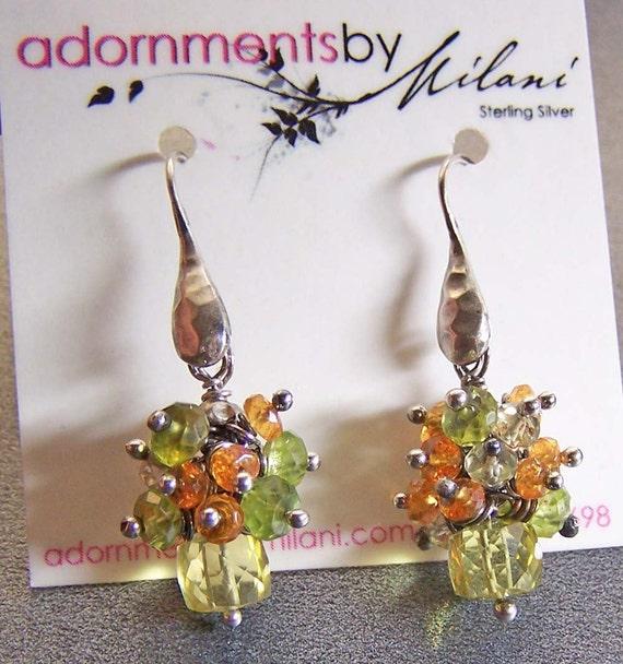 Yellow Orange Green Earrings Gemstones Beaded Sterling Silver -Pineapple Parfait