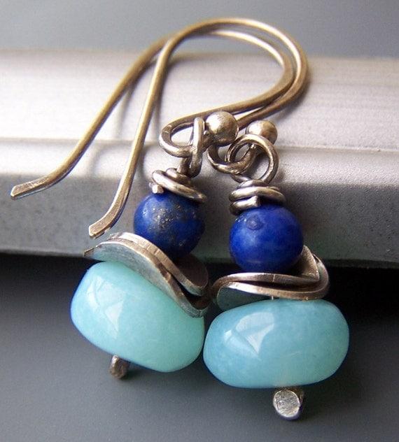Blue Earrings Lapis Peruvian Opal - Elemental