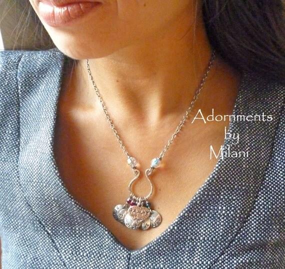 Grandma Necklace 5 five Grandchildren Children Names Jewelry
