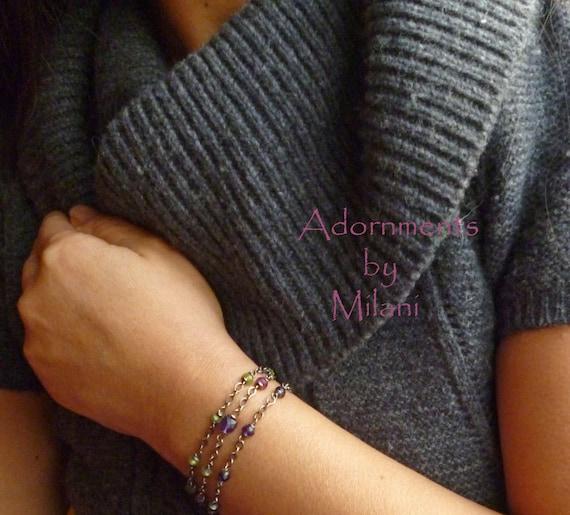 Purple Amethyst Bracelet Triple Three Strand Fuchsia Ruby Green Peridot -Jardin de Monet