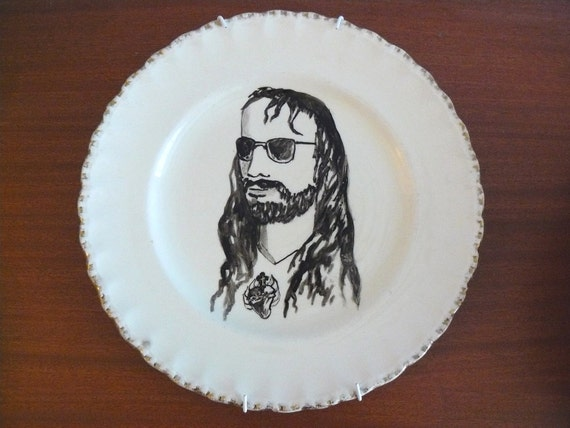 Jesus in shades altered vintage plate