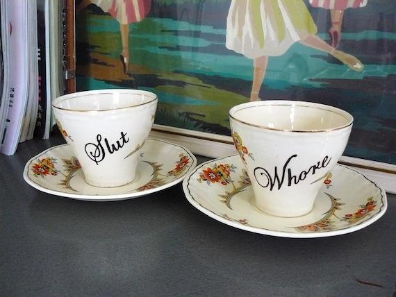 Slut Whore teacups