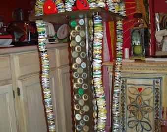 Alot of Beer - Outsider Folk Art bottle cap fern stand table