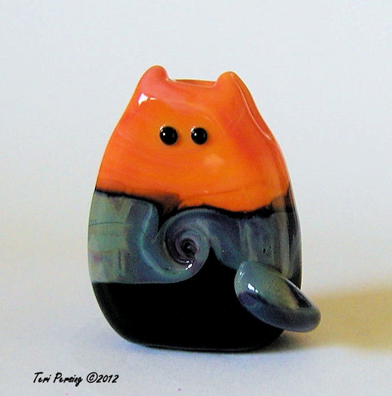 Cat Bead Handmade Lampwork by teribeads - Blake FatCat