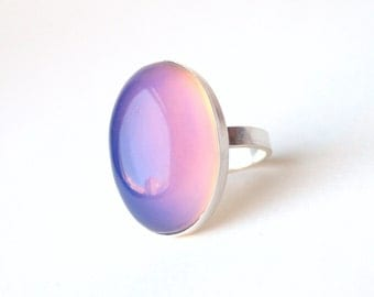 Mood Ring, Large Sterling Silver Cocktail Ring