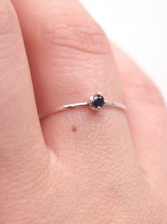 Tiny Black Spinel Ring