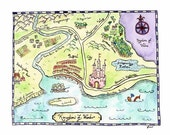 "Kingdom of Wonder Fantasy Map / 8"" x 10"" Watercolor Print / Fairy Tale Decor / Art for Kids Room / Castle Decor / Children's Art"