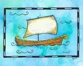 "Ship No. 4 - Norse Ship / 5"" x 7"" Print / Viking Ship / Nautical Nursery Decor / Sailing Ship / Pirate Ship / Sailboat Art / Sailing Art"