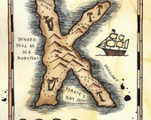 "CUSTOM LARGE Initial Treasure Map / 8"" x 10"" Pirate Map of Letter-Shaped Island / Pirate Art / Nautical Art / Gift for Sailor / Nursery Art"
