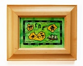 """A Bottle-Green Sea Treasure Map / 3.5"""" x 2.5"""" Original Watercolor Map / Tiny Pirate Map / Framed ACEO Watercolor / Stocking Stuffer Art"""