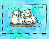 "Ship No. 3 - Brigantine Sailing Ship / 5"" x 7"" Original Watercolor Painting / Nautical Artwork / Nautical Decor / Sailing Art / Sailing Gift"