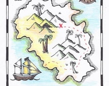 Hide-Your-Own Treasure Map / Pirate Map Printable Coloring Page PDF / Kids Activity Page / Colouring Page / Coloring Sheet