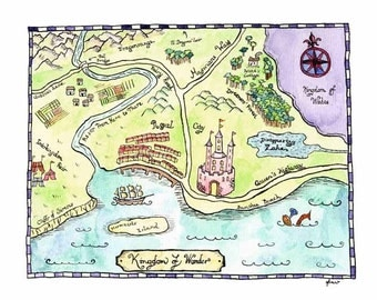 "Kingdom of Wonder Fantasy Map / 8"" x 10"" Watercolor Print / Fairy Tale Decor / Art for Kids Room / Castle Decor / Children's Art"