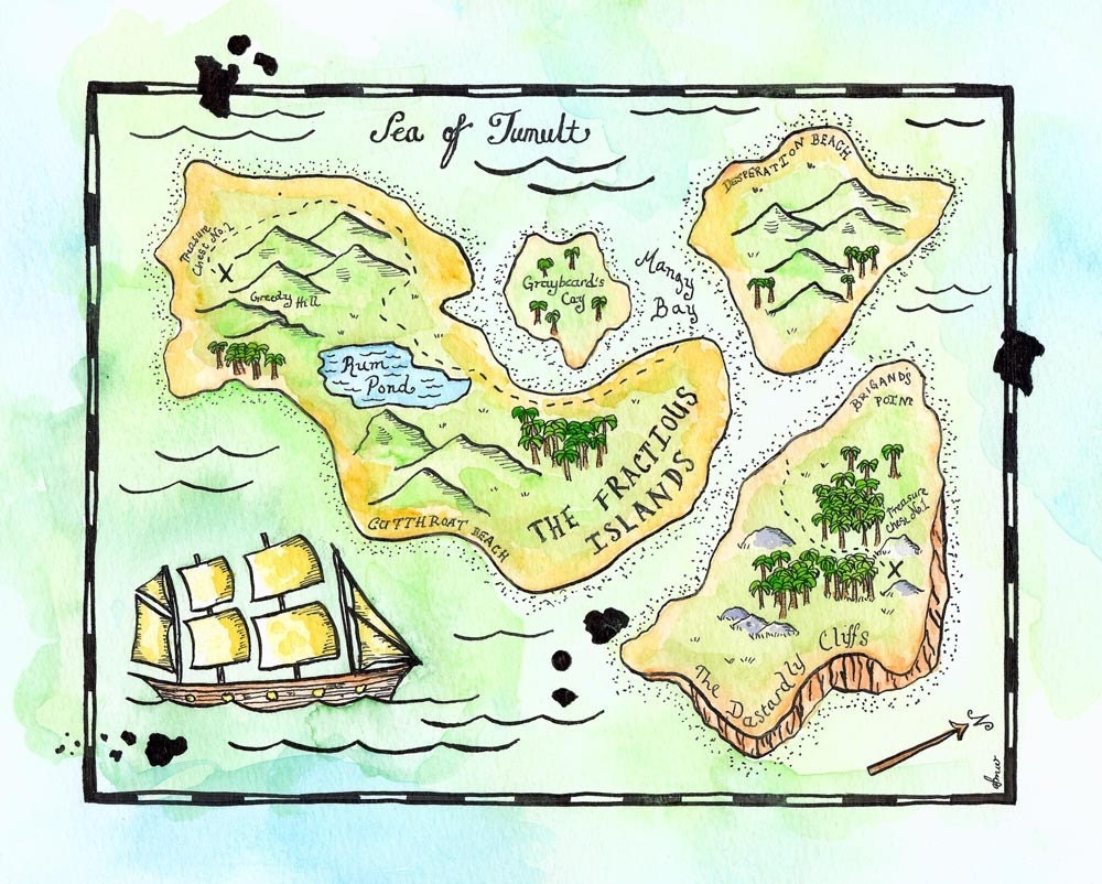 PRINT The Fractious Islands Treasure Map