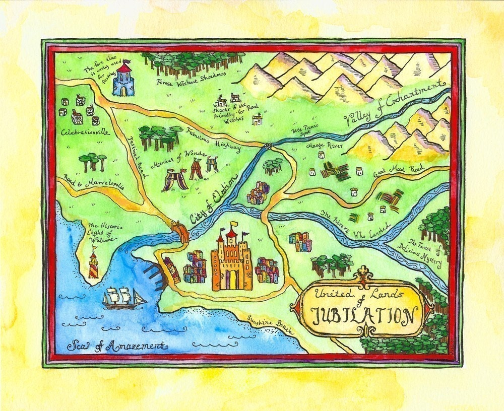 print united lands of jubilation imaginary map
