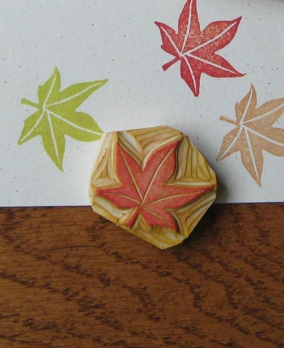 Hand carved maple leaf stamp