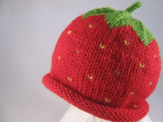 Knit Strawberry Baby Hat Wool